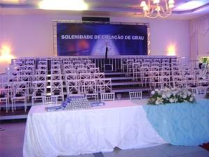 Salão decorado para colação de grau